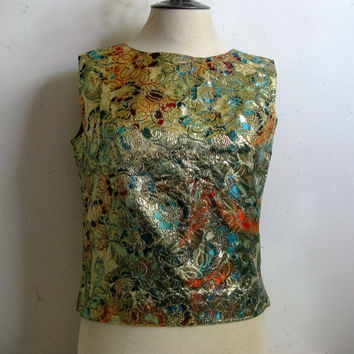 Vintage 1960s Shift Top Psychedelic Metallic Multi-Color 60s Crop Blouse Medium