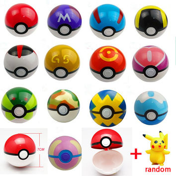 2017 Hottest Kids 15Styles 1Pcs Pokeball + 1pcs Free Random Tiny Figures Inside Anime Action & Toy Figures for Children