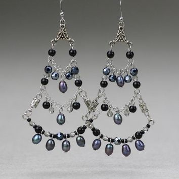 Gray large glamorous chandelier earrings Bridesmaids gifts Free US Shipping handmade Anni Designs