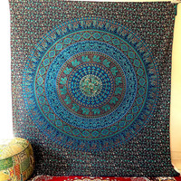 BLUE LARGE mandala hippie tapestry wall hanging indian cotton bedspread throw boho bohemian bedding cover ethnic wall decor