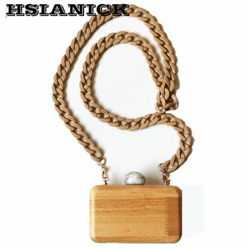 Woman Top Fashion Personality Box Wooden Chain Marble Head Design Wood Handbag Small Clutch Wedding Party Dinner Evening Bag