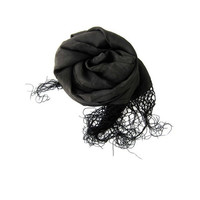 VIntage black sheer SILK fringed neck scarf. long spring scarf.