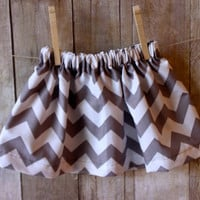 Chevron gray and white skirt, infant / toddler skirts, handmade clothing by Willowbeeapparel