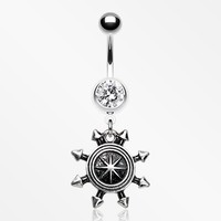 Antique Nautical Compass Belly Button Ring