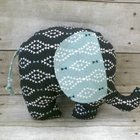 Black aztec elephant plush - tribal / aztec diamond baby elephant nursery decor -  elephant stuff animal -  reversible elephant