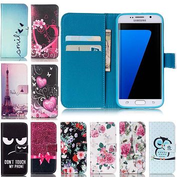 Wallet Stand Flip Leather Case Flower Tower For Samsung Galaxy S3 S4 S5 S6 S7 edge Mini j5 j7 A3 A5 A7 G530 Phone Bag Cover Capa