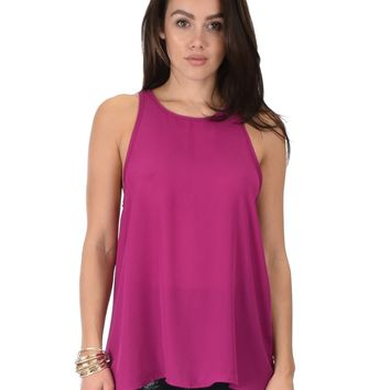 Lyss Loo At First Crush Sleeveless Magenta Top With Keyhole Back