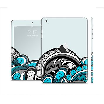 The Abstract Black & Blue Paisley Waves Full Body Skin Set for the Apple iPad Mini 2