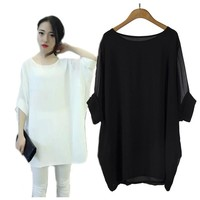 Plus Size Women All-match Chiffon Blouse loose  Batwing S-6XL