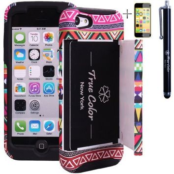 Rugged High Impact Aztec Tribal Ethnic Credit Card Holder Wallet Soft + Hard Hybrid Combo Case Cover for Apple iPhone 5c + Stylus + Screen Protector - Black