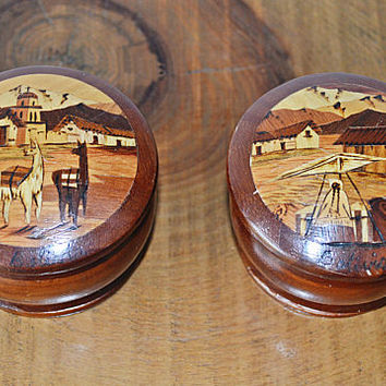 Hand Painted Carved Wood Boxes, Hand Turned Trinket Boxes, Peruvian Wood Boxes