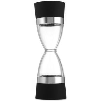 2 in 1 Manual Pepper Shaker Salt Spice Mill Grinder Hourglass Design Outdoor Camping Picnic Cook Tool Ultralight Black