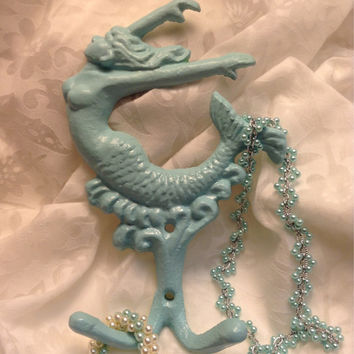 Mermaid Wall Hook/Cast Iron/Coastal Decor/Girl's Room/Beach House/Nursery