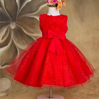 Flower Girl Summer Red Princess Dress Wedding Bridesmaid Dress Christmas SZ2-12