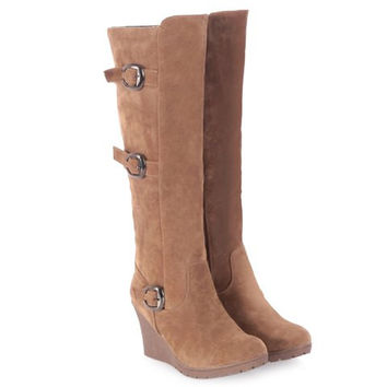 Muti-Buckle Wedge Heel Knee-High Boots