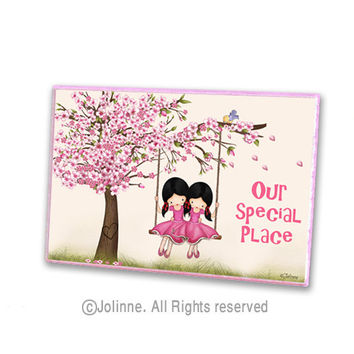 Twins sister personalized door plaque, Cherry Blossom tree door sign, kids room door, nursery decor, custom saying