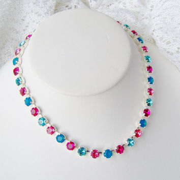 Swarovski crystal rhinestone necklace / 6mm / rose / blue / Statement necklace / Bridal / Tennis necklace