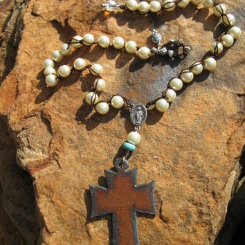 Hand-knotted pearls and Rustic Western Cross Necklace