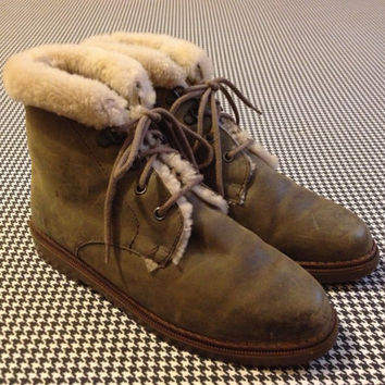1990's, shearling lined, drab leather boots, by Eddie Bauer, Women size 7
