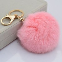 Leegoal Novelty Rabbit Fur Ball Charm Key Chain for Car Key Ring or Bag (Pink)