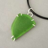 Green Sea Glass and Sterling Silver Triangle Claw Set Pendant | The Silver Forge Handcrafted Jewellery