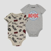Toddler Boys' 2pk AC/DC Bodysuit - Gray/Ivory
