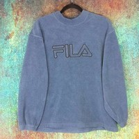 90s Fila Crewneck Fleece Pullover Embroidered Logo Sweatshirt Jumper Athletic Vintage
