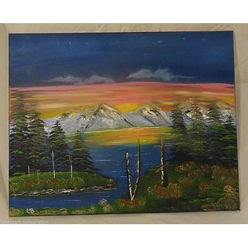 Oil Painting Artist Michael Blanchard Mountain Sunset Lake Landscape 20in x 16in