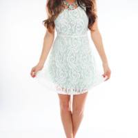 Only Want To See You Smile Dress: White/Mint