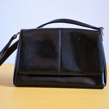 Black and Silver Vintage Liz Claiborne Purse/Handbag/1980s