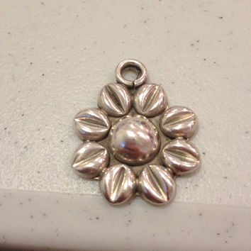 TAXCO Sterling Sunflower PENDANT Silver Flower Floral Vintage Stamped Southwestern Jewelry 925 Necklace Enhancer Slide Mexico Mexican Boho