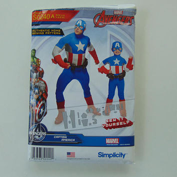 Simplicity S0240 Boys and Mens Captain America Costume Sewing Pattern Size A 3-8 S-XL