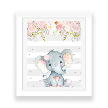 Digital Print, Elephant Print, Baby Girl, Baby Print, Shabby Chic Print, Nursery Decor, Nursery Print, Floral Printable, Pink Gray Nursery