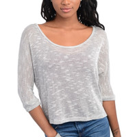 Slub Knit Quarter Sleeve Top