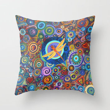 Dragonfly and circles Throw Pillow by gretzky | Society6