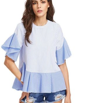 V Cut Surplice Back Tops Blouse Women Blue Striped Ruffle Casual Summer Tops New Sexy Cute Ladies Blouse