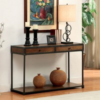 Hecura collection transitional style antique oak finish wood and metal frame console entry sofa table with drawers