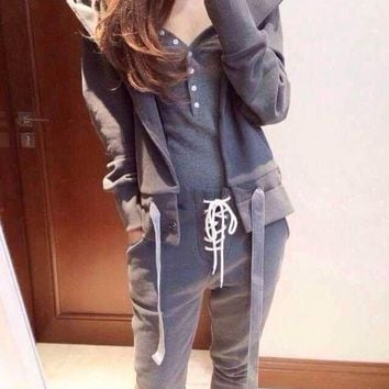 ESBONJ. Women Sport Casual Solid Color Vest Long Sleeve Cardigan Hooded Sweater Trousers Set Three-Piece Sportswear