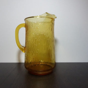 Vintage Amber Glass Pitcher with Tree Bark or Bamboo Pattern - Mid Century Modern