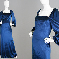 Vintage 70s JANICE WAINWRIGHT for Simon Massey Midnight Blue Panne Velvet Dress Long Evening Gown 1970s Maxi Dress Medieval Style Dress