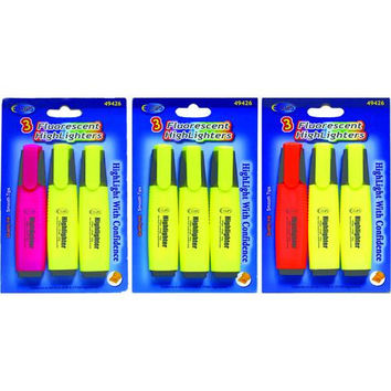 Fluorescent Highlighters - 3 pack