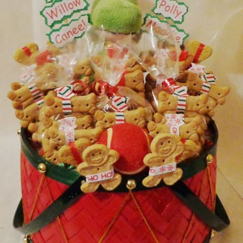 Christmas dog biscuit treat dog gift basket with squeak toy and tennis ball, dog treats, unique dog gift, holiday, personalized dog gift
