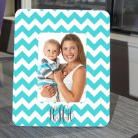 Tiffany Blue and White Chevron Monogram Picture Frame by hhprint