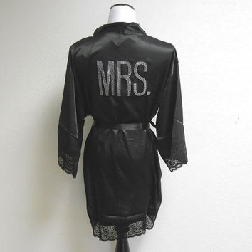 MRS Robe. Bride Robe. Black Satin Robe. White. Lace MRS robe. MRS. Robe. The Mrs. Robe. Newlywed Robe. Honeymoon Robe. Getting Ready Apparel