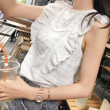 Mishow Flounce Shoulder O-Neck embroidery Lace Blouse White Ruffle Sleeveless Blouses Women Summer Casual Tops MX18B4734