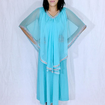 Vintage 70s Turquoise Polyester A-line Maxi Chiffon Overlay Capelet Dress M // L