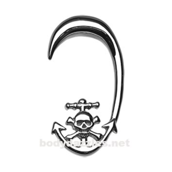 Pair of Skull Pirate's Dock Steel Ear Gauge Hanging Taper Surgical Steel
