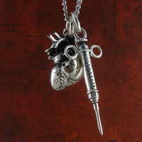 """Anatomical Heart and Syringe Necklace Antique Silver Pendant on 24"""" Antique Silver Chain"""