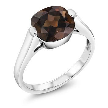 Natural Brown Smoky Quartz Silver Ring
