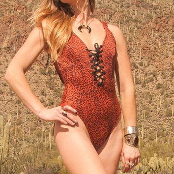 Rad 90s One-Piece Lace-up Cheetah Swimsuit Size Small Medium | Funky Sexy 80s Vintage Swimwear Bathing Suits Bodysuit Unique Womens Swimsuit